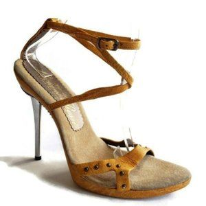LUCIANO ROSSI  Leather Wrap Studds Metal Heels